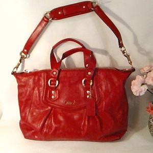 Coach Ashley Red Leather Satchel